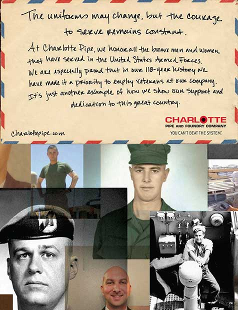 Charlotte Pipe and Foundry Company, The uniforms may change, but the courage to serve remains constant. At Charlotte Pipe, we honor all the brave men and women that have served in the United States Armed Forces.