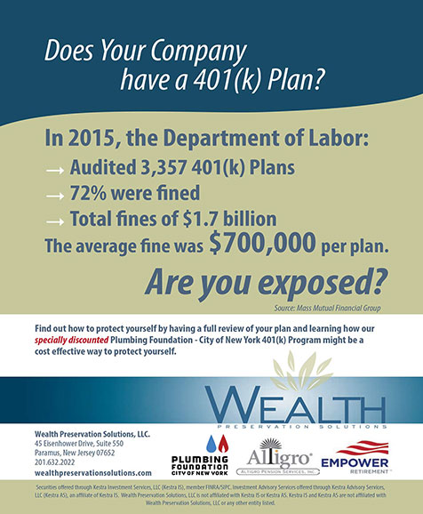 Wealth Preservation Solutions. Does your company have a 401(k) plan? Are you exposed?