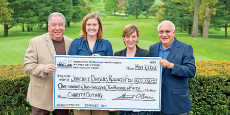 (l. to r. - Ralph DeMartino, Chair ACP Charity Outing; Rebecca Santoli, JDRF Executive Director; Erin Farrell, JDRF Development Director; Eugene Boccieri, President ACP)