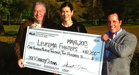 l. to r. - Ralph DeMartino, Chair ACP Charity Outing; Dr. Ellen K. Ritchie, Associate Director of the Leukemia Fighters' Program at New York Presbyterian Hospital; Andru Coren, President ACP