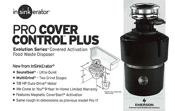 inSinkErator Pro Cover Control™ Plus, Evolution Series® Covered Activation Food Waste Disposer