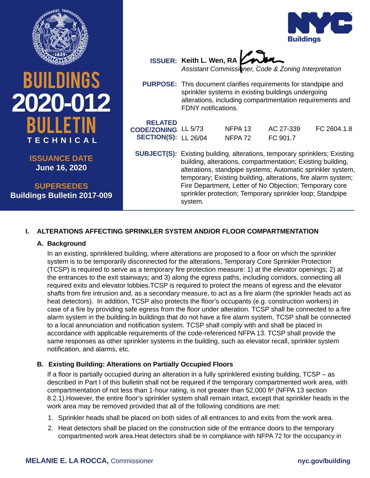 BUILDINGS 2020-012 BULLETIN TECHNICAL