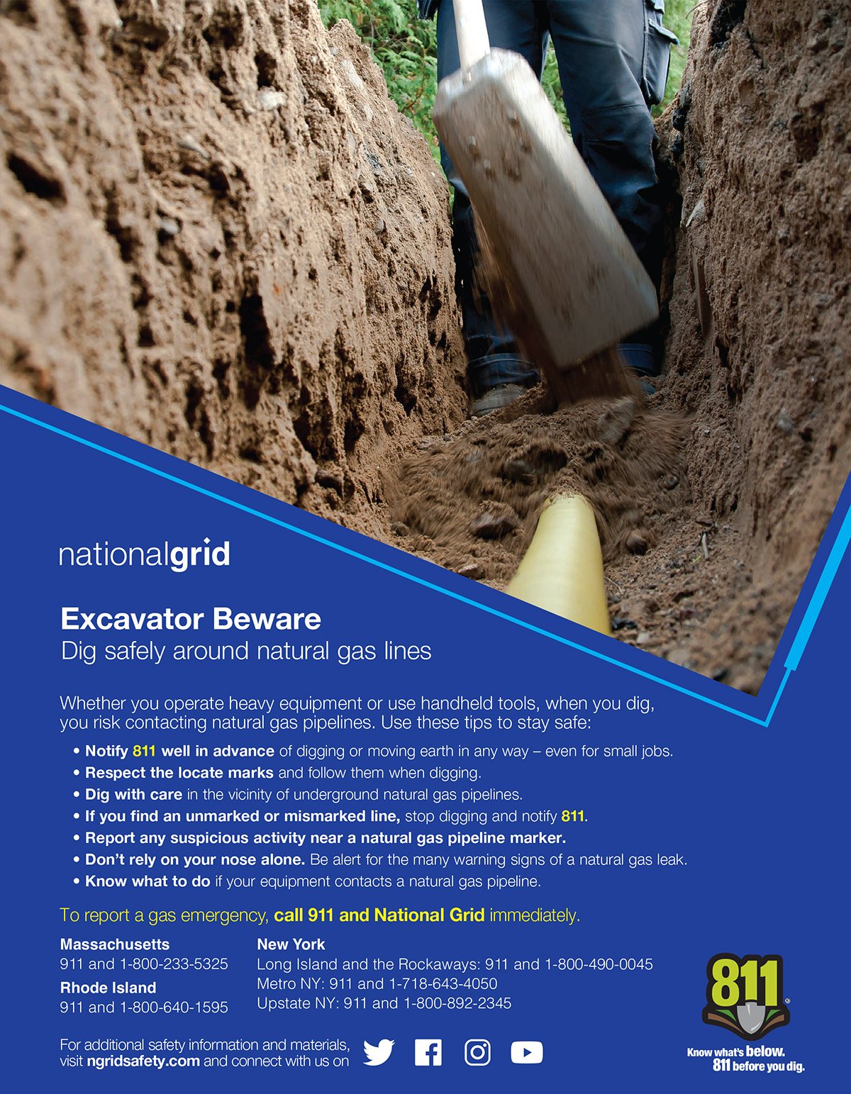 nationalgrid: Excavator Beware. Dig safely around natural gas lines